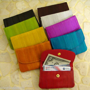 NEW-Genuine-Eel-Skin-Leather-Coin-Purse-Wallet