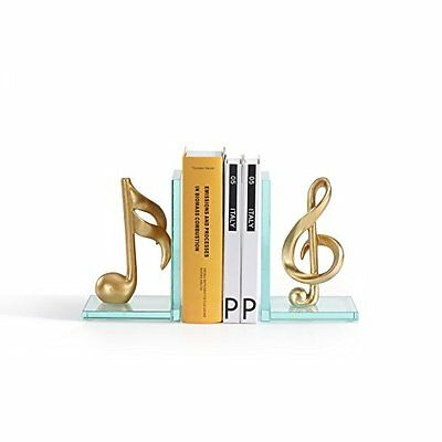 Danya B DS840 Gold Musical Glass Bookends NEW