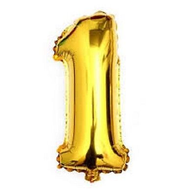 40 Metallic Gold Glossy One Year Old First Birthday 1 Month Number Float Balloon - Metallic Number Balloons