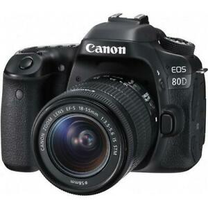 Canon EOS 80D DSLR Camera with 18-55mm Lens open box