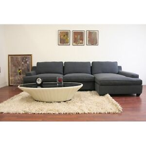 BRAND NEW!! BEAUTIFUL, 2 Pc GREY FABRIC SECTIONAL CLEARANCE