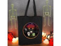 Personalised Halloween black cotton bag- 'treat bag'