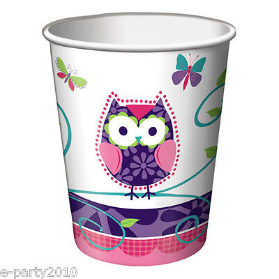 PATCHWORK OWL 9oz PAPER CUPS (8) ~ 1st Birthday Party Supplies Beverage Drinking - Owl Birthday Supplies