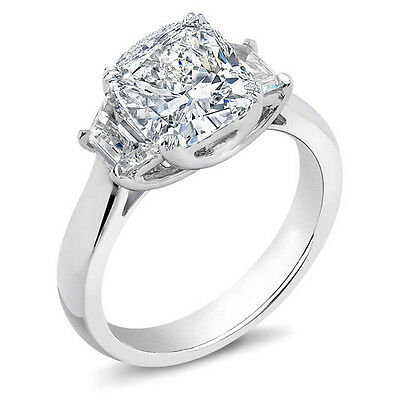Natural 3.03 Ct 3 Stone Cushion Cut Diamond Ring H,VS2 GIA 14K White Gold