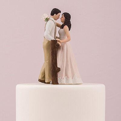 Rustic Couple Porcelain Figurine Wedding Cake Topper Blush Dress Customization (Wedding Cake Toppers Rustic)