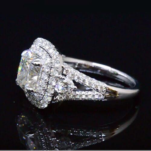 2.80 Ct Cushion Cut Diamond Dual Halo Split Shank Engagement Ring G,VS1 GIA 14K  1