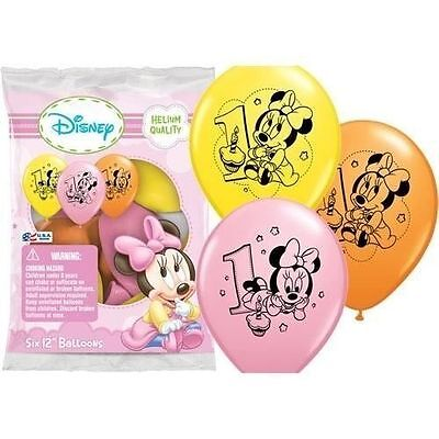 12 Baby Minnie Mouse 1st First Birthday Favor Balloons Party Supplies Decoration
