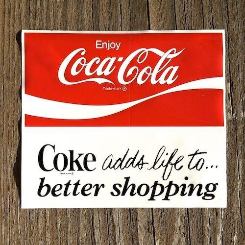 2 Vintage Original Coke COCA COLA SODA Window Decal Sticker Unused NOS 1960s