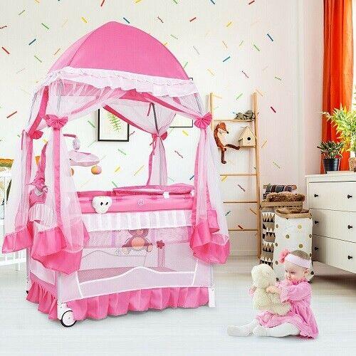 Baby Pink Playpen Bassinet Infant Girl Newborn Crib Play Yard Nursery Furniture