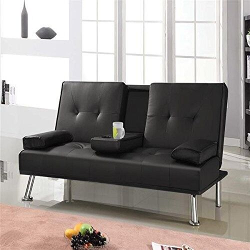 Popamazing Modern Faux Leather 3 Seater Sofa Bed With Fold