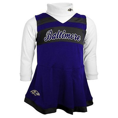 NWT $40 NFL Baltimore RAVENS 2 Pc. Cheerleader Outfit  Dress & Turtleneck 24M   - Raven Outfit