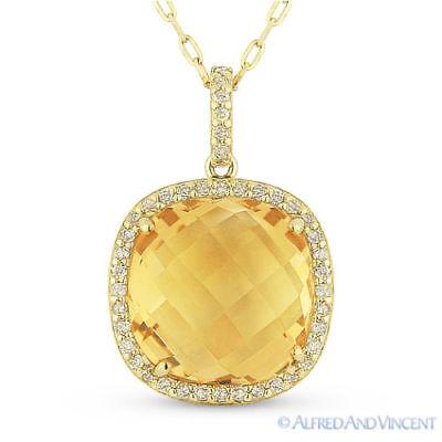5.43 ct Cushion Cut Citrine Gem Diamond Halo Pendant 14k Yellow Gold Necklace