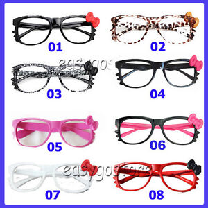 HelloKitty kitty Bow Bowtie Women Girl Glasses Frame Costume nerdy Gift No Lens