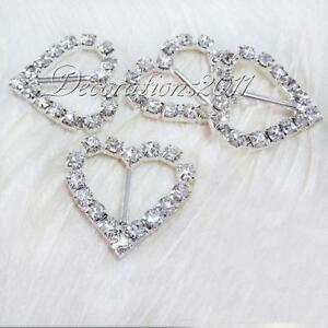 Diamante Heart Ribbon Slider · Diamante Rhinestone Buckles Ribbon Sliders  Wedding Decor Bridal Embellishments 545f440d12f5