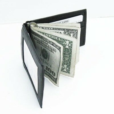 Black Genuine Leather Bifold Spring MONEY CLIP Slim ID Badge wallet Free SH