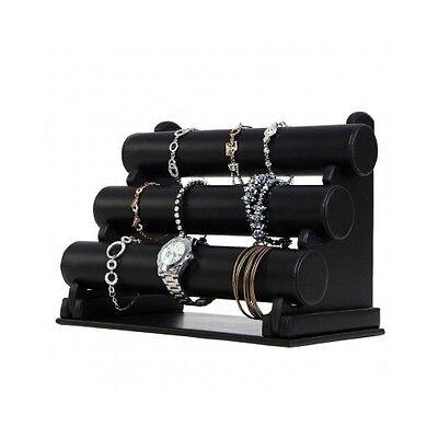 Bracelet Display Stand 3 Tier Watch Jewelry Holder Black Leather Rack Organizer