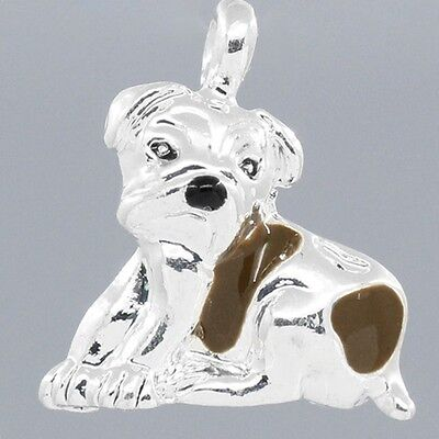 Brown Spotted Dog 3D Enamel 16mm Silver Plated Traditional Charm 1 -