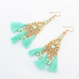 AQUA BLUE HAND BEAD  BOLLYWOOD BOHO ETHNIC CHANDELIER STATEMENT EARRINGS TASSLES