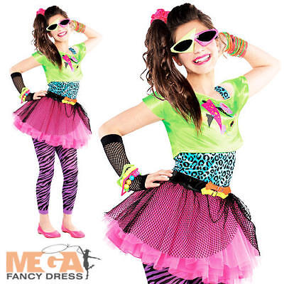 80s Party Girls Fancy Dress Celebrity 1980s Singer Kids Childs Costume Outfit](1980 Costumes For Girls)