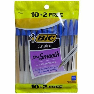 Bic Cristal Xtra-smooth Blue Ink Pens 1 Pack 12 Ink Pens Total Ships Free New