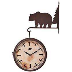 Bear for Cabin Decor Wall Hanging Clock, Rustic Brown