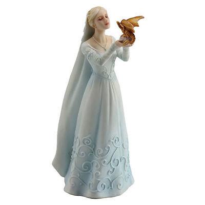 "6.25"" Maiden & Dragon Hatchling Statue Figure Sculpture Figurine Fantasy Decor"
