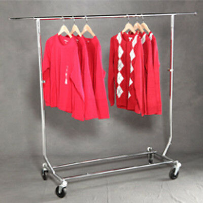 Single Rail Commercial Folding Garment Rack - 55 W X 22 D X Up To 65 H Inches