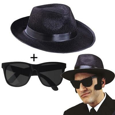 Blues Brothers Set Hut und Brille 2 Teile - Gangster Outfits