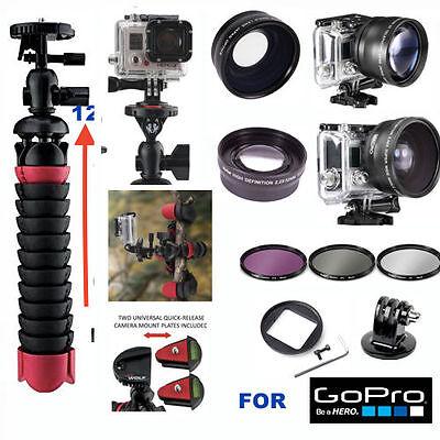 GOPRO HERO5 BLACK WIDE ANGLE LENS+TELEPHOTO ZOOM LENS+ FLEX TRIPOD + FILTER KIT