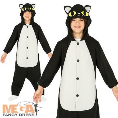 Black Cat Kids Fancy Dress Halloween Animal Kitten Boys Girls Costume Outfit - Black Cat Boy Kostüm