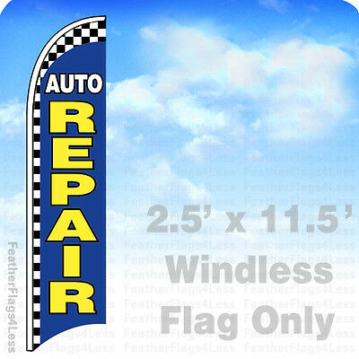 Auto Repair Windless Swooper Flag Feather 2.5x11.5 Sign - Checkered Bb