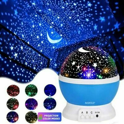 Starry Night Sky Projector Lights Kids Baby Gift Moon Star Lamps Rotating Cosmos