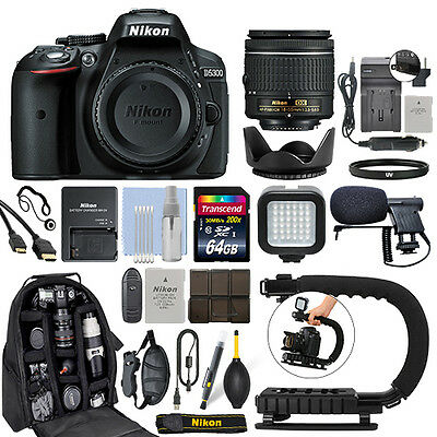 Nikon D5300 Digital SLR Camera with 18-55mm Lens + 64GB Pro Video Kit
