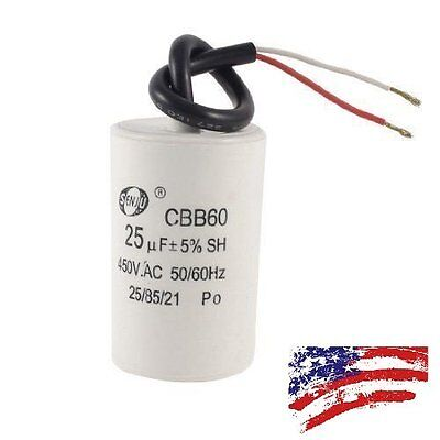 US CBB60 Nonpolar Motor Running Capacitor 450VAC 25uF for Washing Machine Motor Running Capacitor