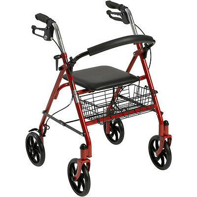 Drive McKesson Medical Rollator Folding Walker RED Adult 4 Wheels 10257RD ~NEW~