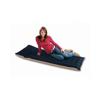 Single Air Mattress Bed Inflatable Sleeping Built-In Pillow Outdoor Indoor Black