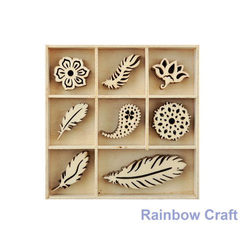 Kaisercraft Wooden Flourish packs / storage box 74 selections - Feather