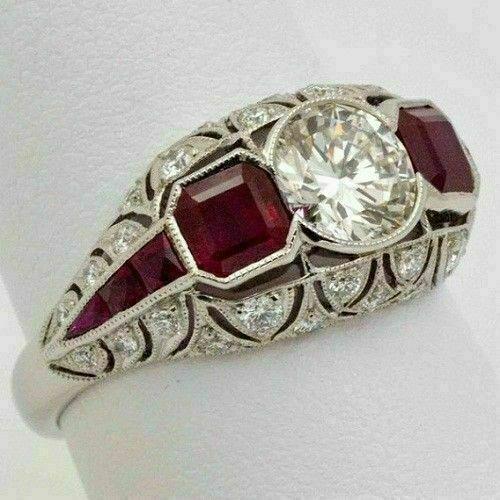 Antique & Vintage Art Deco Engagement Ring 1.82 Ct Diamond 14K White Gold Over