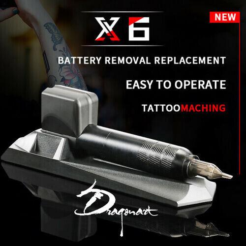 Black X6 Wireless Rechargeable Cartridges Needles Rotary Pen Tattoo Machine