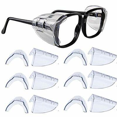6 Pair Safety Eye Glasses Side Shields Clear Flexible Slip On Shield Fits