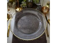 Crystal Clear Gold Beaded Charger Glass Plates Available