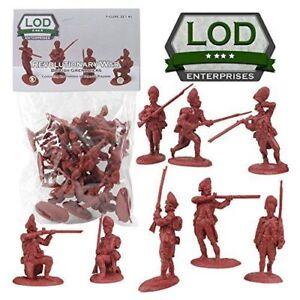BARZSO LOD Revolutionary War British Grenadiers 16 Plastic Toy Soldiers Redcoats