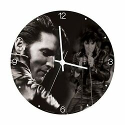 Vandor 47089 Elvis Presley 13.5 Cordless Wood Wall Clock, Black and White
