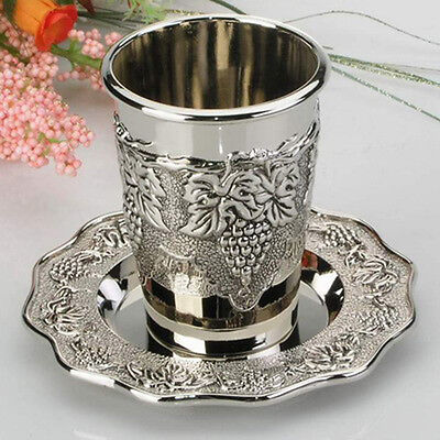 """Silver Plated Grape Design Kiddush Cup with Coaster 3.5"""" Clearance Sale. Gift"""