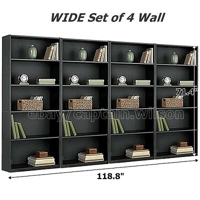 Bookcase WIDE 5 Shelf Set of 4 Wall Black Adjustable  Wood Bookshelf Storage