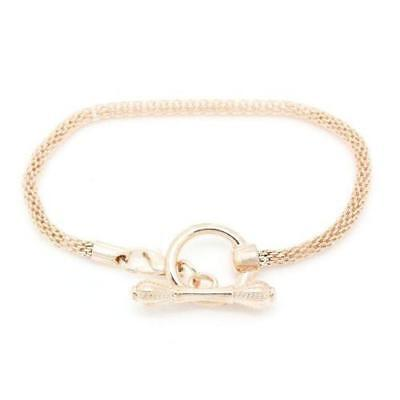 7.25 Rose Gold Tone Plated Base Toggle Clasp Snake Chain Charm W/lobster Clasp B