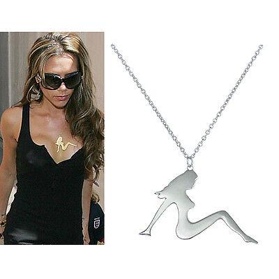 Celebrity Silvertone Mud Flap (Mudflap) Girl Necklace