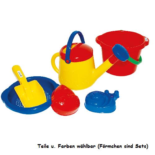 spielstabil® Sandspielzeug Eimer, Gießkanne, Sieb, Förmchen - einzeln wählbar