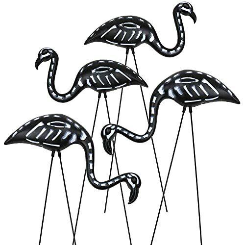 4-Pack Small Halloween Flamingo, Black Flamingo Skeleton, Zombie Flamingos,