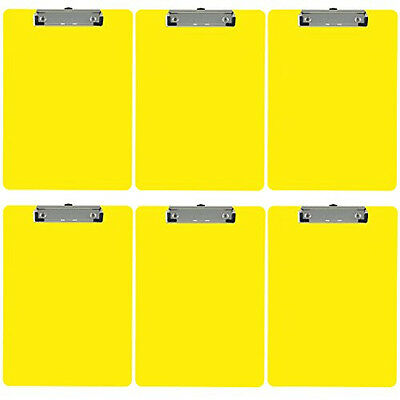 Plastic Clipboard Opaque Color Letter Size Low Profile Clip Pack Of 6 Yellow